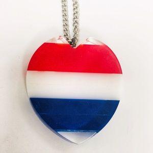 1960s mod lucite stylized heart pendant